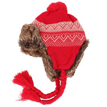 New Ladies Winter Trapper Fleece Lined Knit Pattern Peruvian Hat