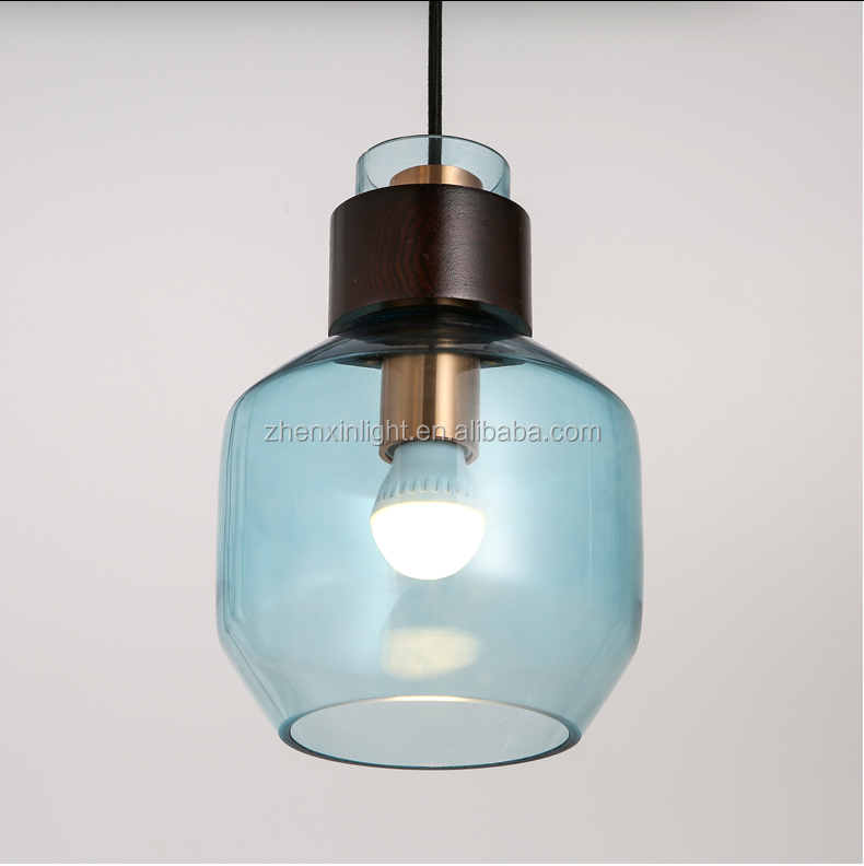 Modern decorative E27 E26 bulb amber clear blue smoke grey glass dark wood pendant lighting