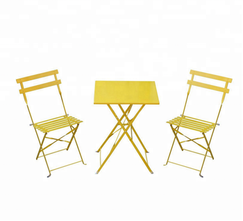 Outsunny 3pc Bistro Set Garden Balcony Folding Square Table Chair Yellow