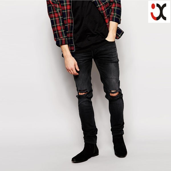 2015 Stretch Denim Dark Wash Ripped Knees Black Skinny Fit Men ...