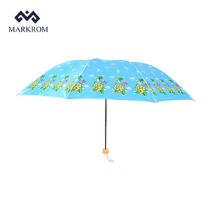 Super Light Mini Manual Operation Rain 3 Fold Umbrella with logo prints