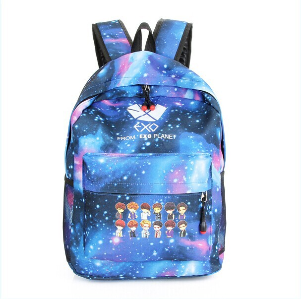 2015 New EXO Korean Backpacks Fashion Canvas Backpacks School Bags for Teenagers Schoolbag Back Pack Rucksacks H31