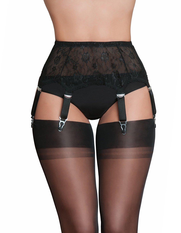 cf3bc86d6c1 Get Quotations · Nylon Dreams NDL55 Women s Black Lace Garter Belt 6 Strap  Suspender Belt