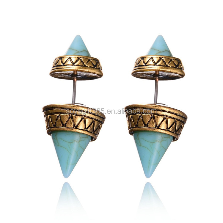 Double Sided Vintage Ethnic Style Turquoise Stud Earrings Marble Stone Geometric Earrings