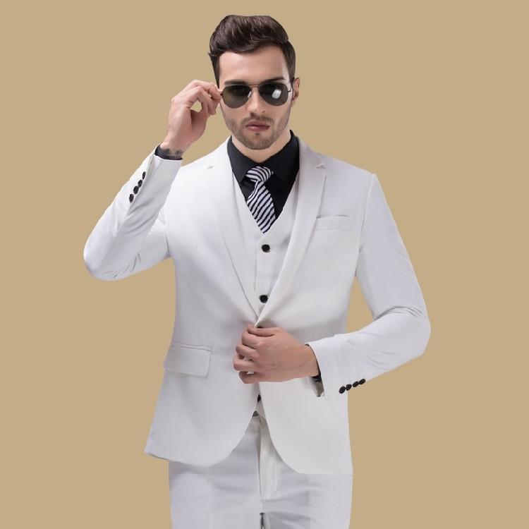 Moda Homem Blazeres Noivo Homens Vestido De Casamento Terno Branco
