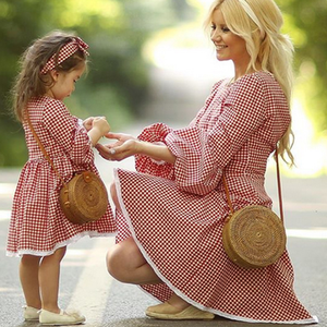 YY10562G Mother daughter dresses family wear red plaid mommy and me matching outfits mom baby girl dress look clothing