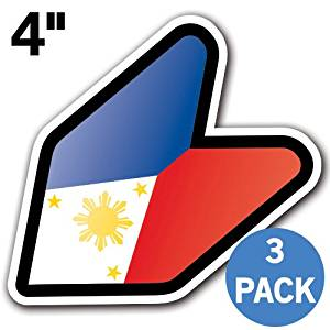 "[3 PACK] PHILIPPINES - [Adelia Co] 4"" Philippino Flag Filippino Pinoy Pinay JDM Wakaba Shoshinsha Mark New Driver Badge Leaf Sign Car Bumper Stickers Decals"