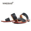 VIKEDUO Hand Made Collection Black Shoes Sandal Custom Flat Men Genuine Leather Slipper For Luxury Male