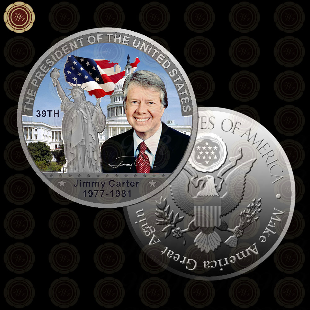 WR Latest Souvenir Gift Item <strong>Metal</strong> US The 39th President Coin Home Office Decoration Collectible Jimmy Carter Art Crafts 40x3mm