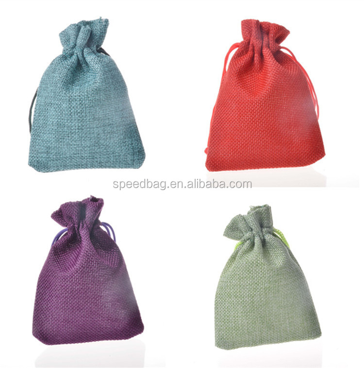 fashion new style mixed colors small jute drawstring coffee bag