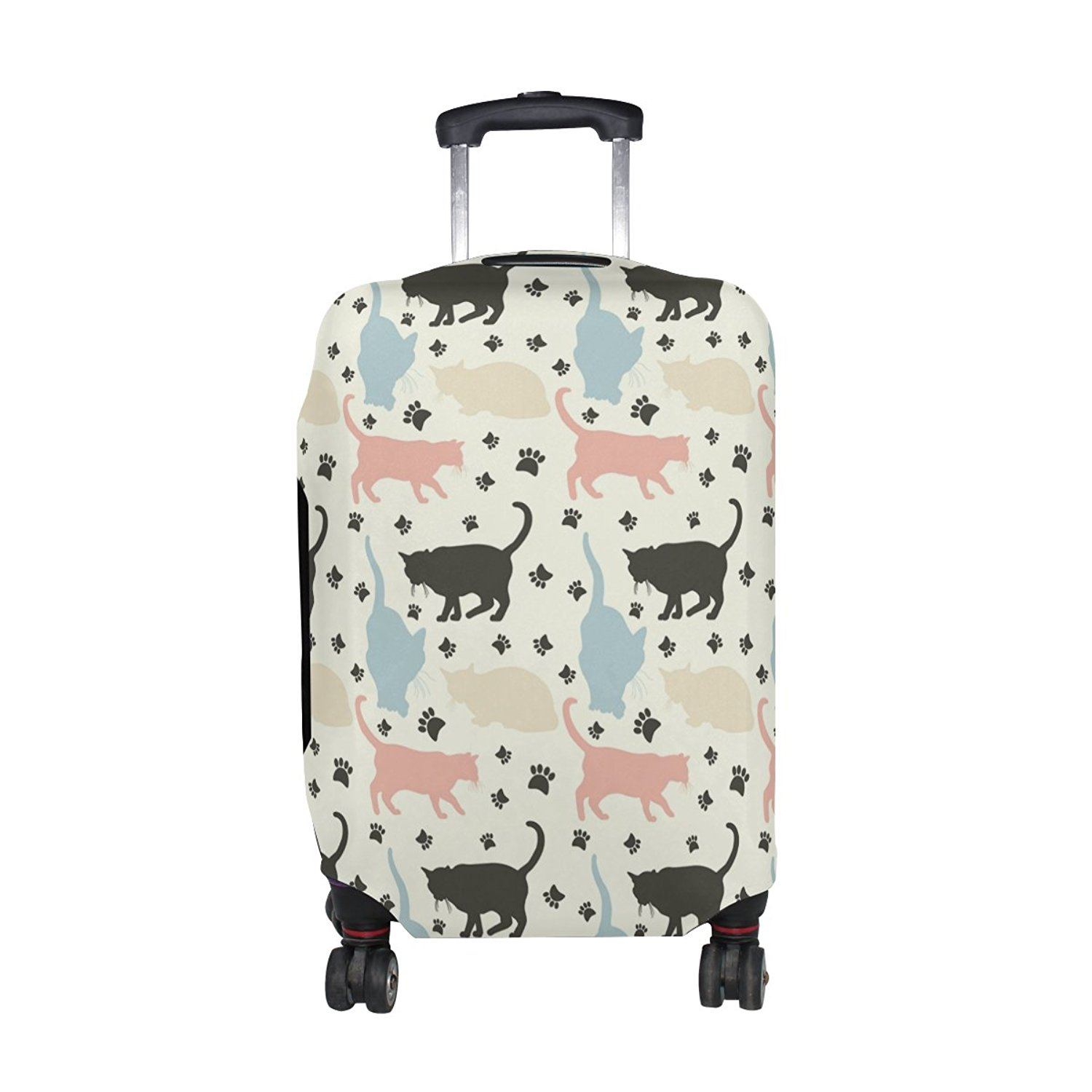 OREZI Luggage Protector White And Orange Travel Luggage Elastic Cover Suitcase Washable and Durable Anti-Scratch Stretchy Case Cover Fits 18-32 Inches