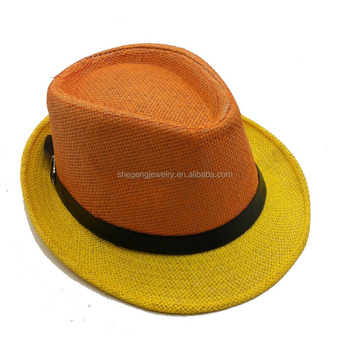 d11246300bbaf Two Tone Fedora With Buckle Band Straw Hat - Buy Two Tone Fedora ...