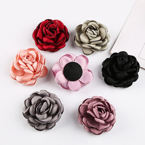 custom made 5.5cm colorful burnt rim decorative fabric flowers for clothing