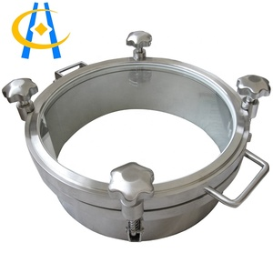 Round Ductile Iron Pressure Manway With sight Glass For Food,Beverage Equipment