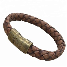 costume fashionable gold plated leather bracelet stainless steel jewelry for men