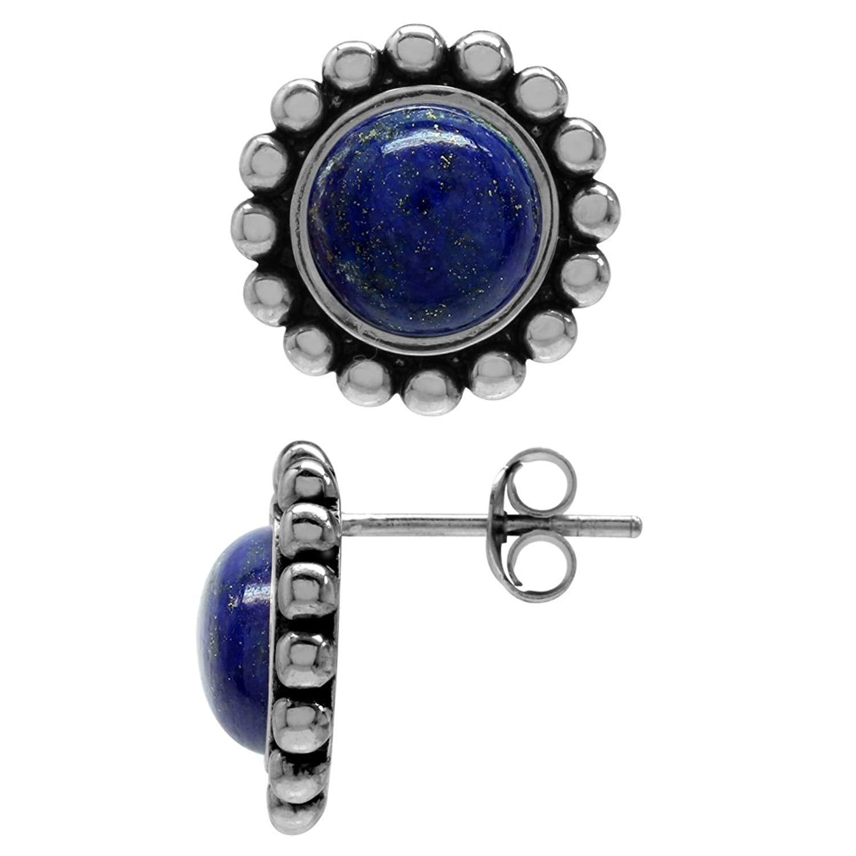 8MM Genuine Lapis 925 Sterling Silver Bali/Balinese Style Stud/Post Earrings