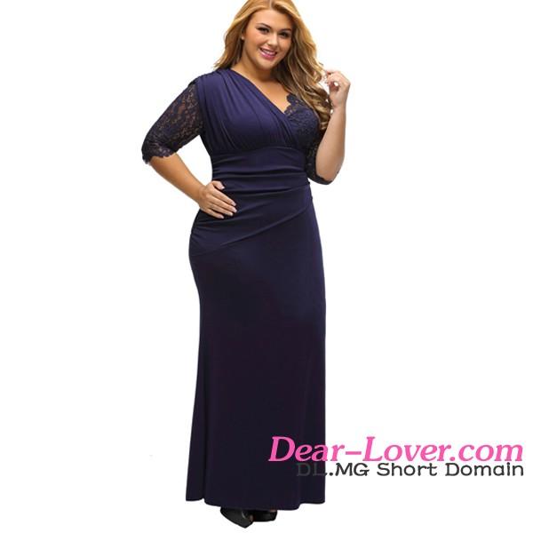 9089e9744ca Casual Style Full Figured Womens Elegant Half Sleeves Navy Large Size  Dresses