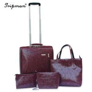 2874c61a1c Cathylin travel custom rolling PU luggage pilot bags clear PVC polo trolley  luggage set