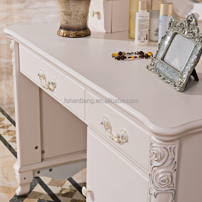 Ivoor witte moderne franse ontwerp houten kaptafel cheval spiegel met laden en kruk dressoirs - Kaptafels ontwerp ...