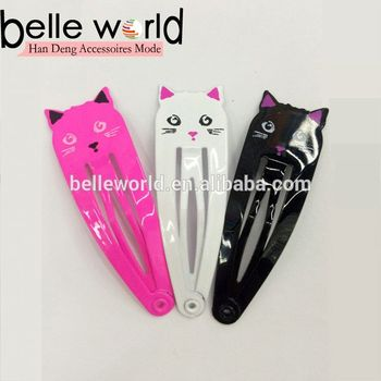 Cute and lovey cat metal design snap clips hair clip