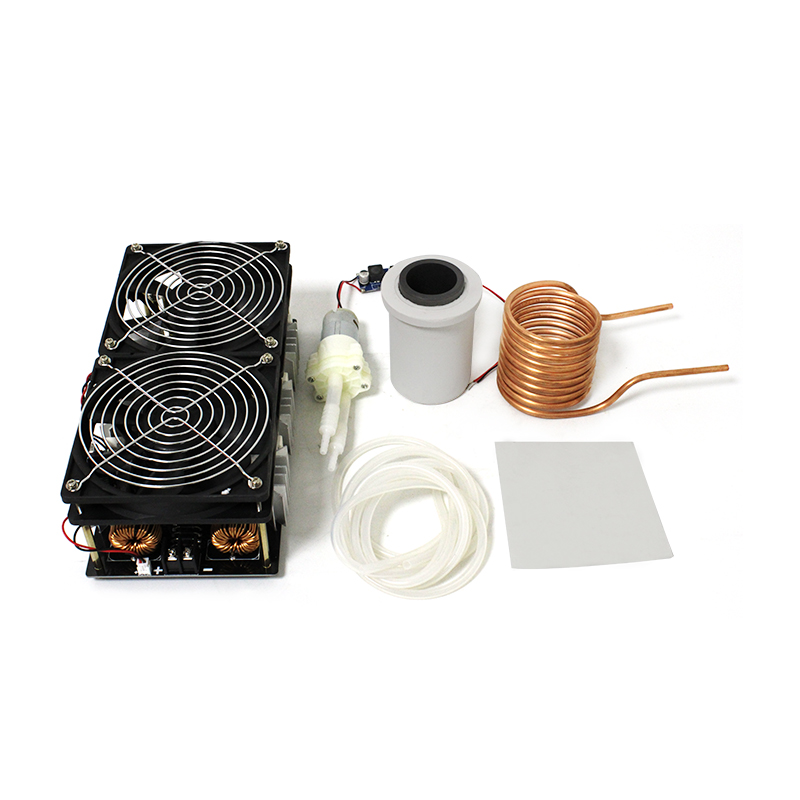 2500W ZVS Induction Heater Induction Heating PCB Board High frequency Heating Machine Melted Metal + Coil + Crucible+Pump