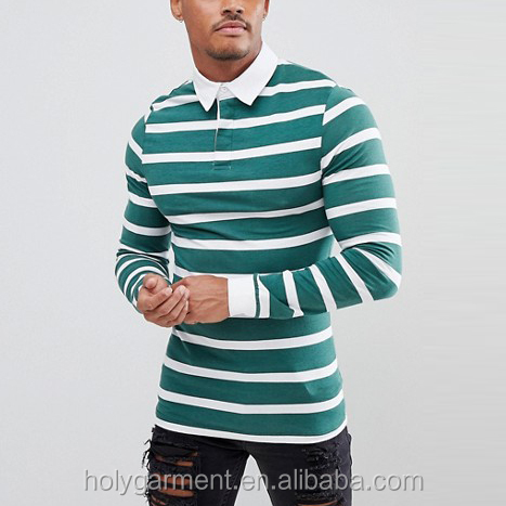 Muscle long sleeve custom striped polo shirt