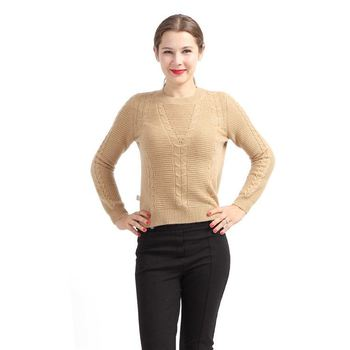2018 Pure Cashmere Crew Neck Spring Sweater for Women