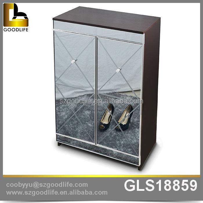 Goodlife Modern Aluminum Alloy Sealing Mirror 4 Tier Shoe Rack, Storage  Cabinet