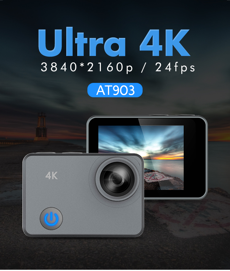 New arrival real 4k 24fps camera waterproof sport dv 2019 action cam