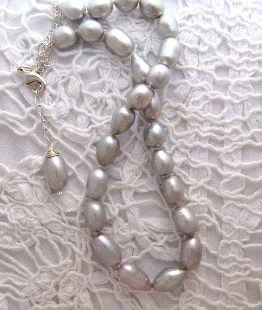 Silver Grey Freshwater Pearls Necklace, Hand-knotted Pearls, handmade bridal jewelry