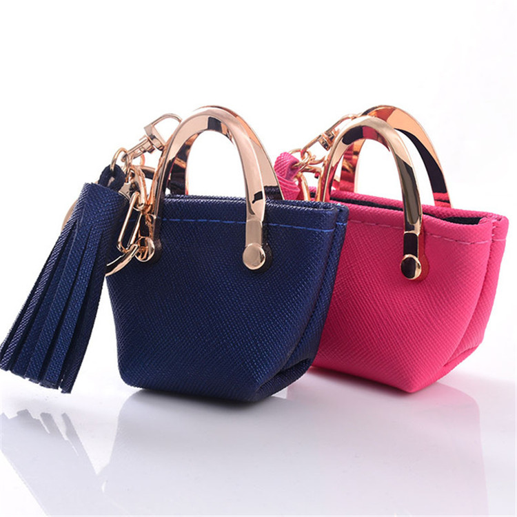 Small Bag Keychain Purse gray Pink blue red Decoration Key chains PU Leather Bag