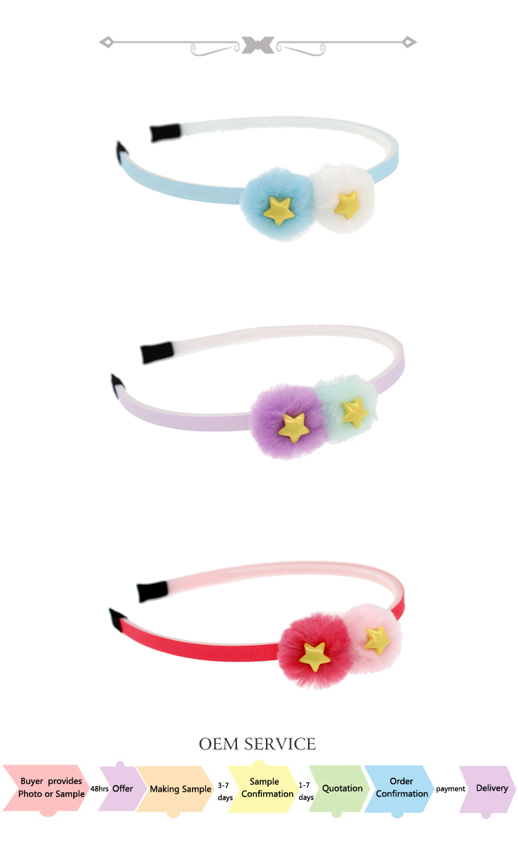 Sweet fur pom poms hair accessory band with star for girl P-2641