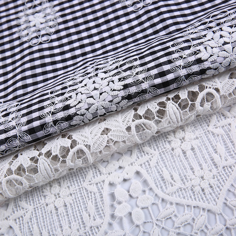 New style water sulobe border cotton yarn dyed fabric check fabric for embroidery