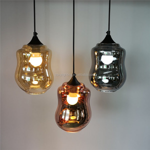 Factory Sales Cafe, Bar New Glass Pendant Lamp Smoke Chrome Copper Amber Dyeing Round Glass Ball Chandelier