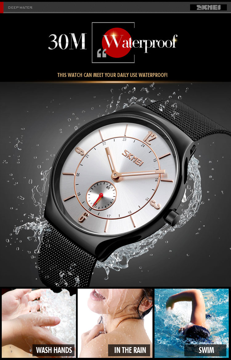 SKMEI 9163 Top brand Luxury Men's waterproof Wristwatches Ultra Thin Stainless Steel Clock hour Male Quartz Relogio Masculino