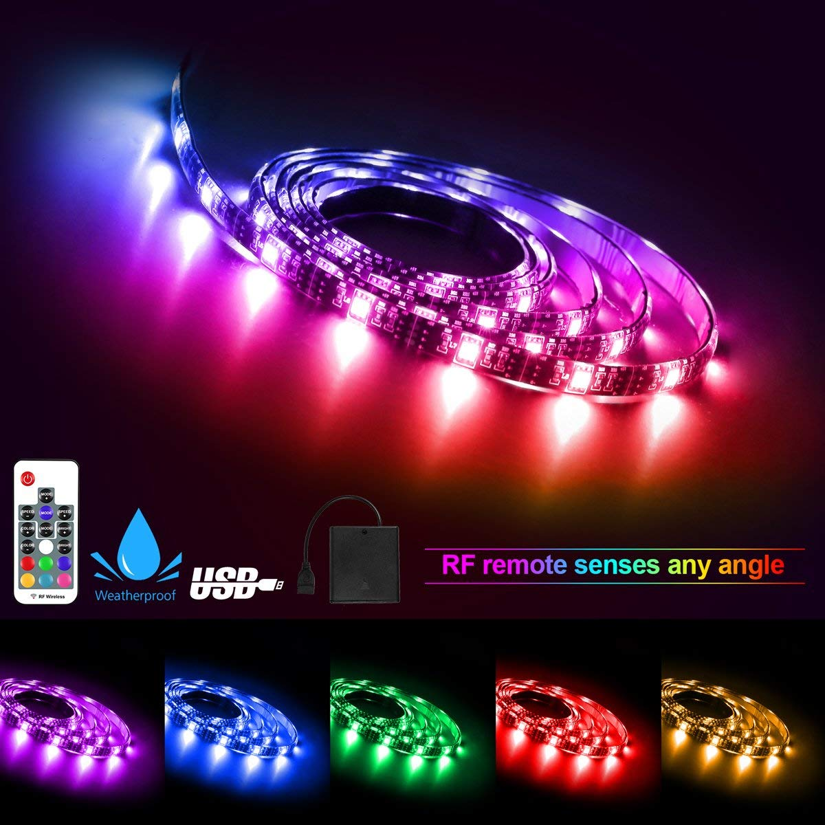 Led Light Strip, Battery Powered USB Operated 2 in 1 Led Strip Lights, RF Remote Waterproof RGB LED Strip Rope Lights Multi Color Changing, 2M/6.56ft