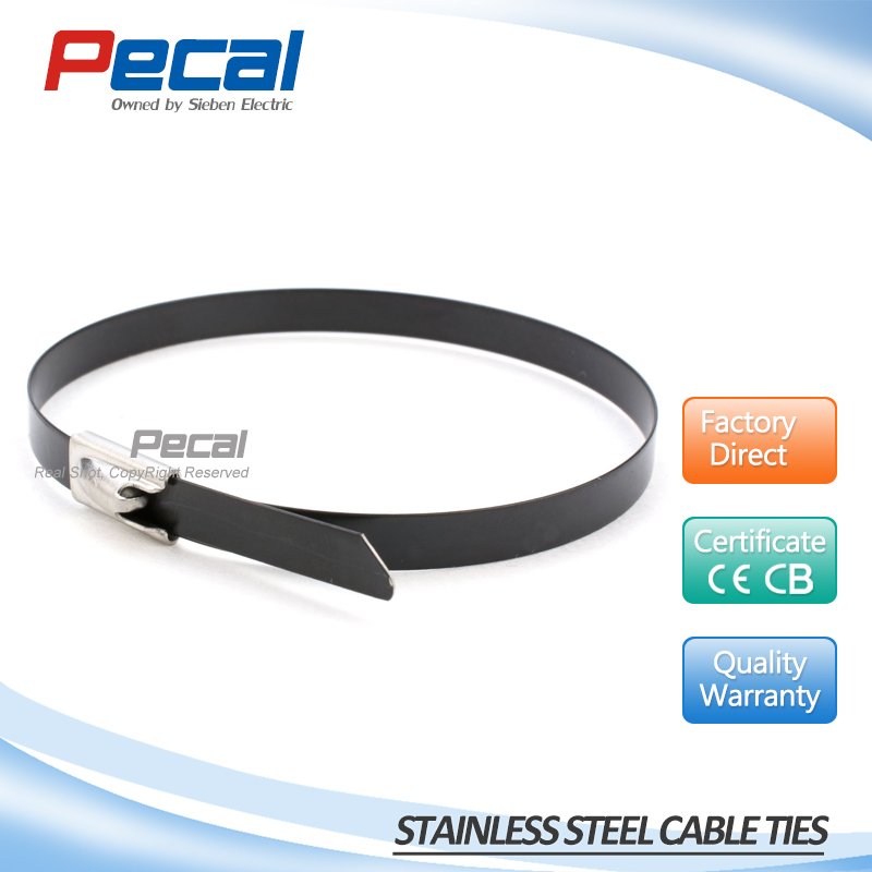 High quality SS 316 material full PVC coated stainless steel cable ties