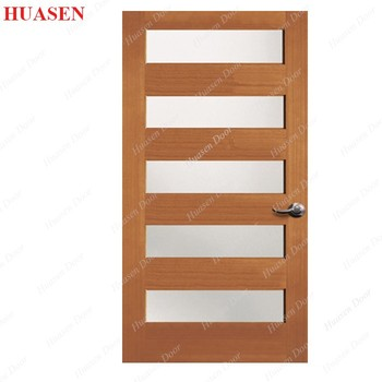 Solid Wood 5 Panel Insert Frosted Gl Interior Door Product On