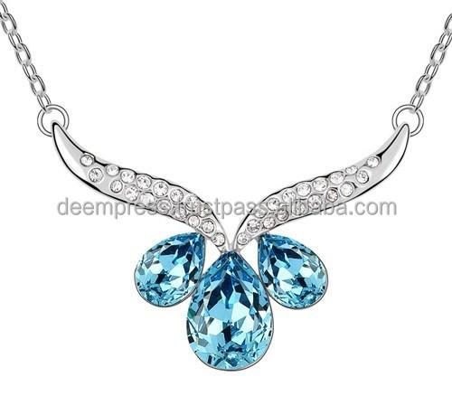 Gota de agua cristal azul circón Collar y colgante de color de rodio