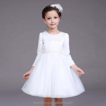 Baby Girl Winter Party Dress Children Frocks Designs Long Sleeves Communion Dress For 3 9 Years Old White Flower Wedding Dress Buy Simple Long