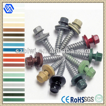 Roofing Screws With EPDM Washers Self Drilling Point,Galvanized,Colour  Painted