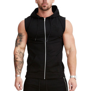 OEM custom logo mens gym wholesale plain sleeveless hoodie