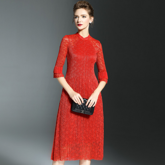 Elegant lady red embroidery A line pleated fold lace dress