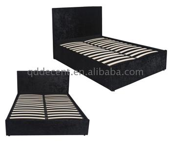 Small Patch Slatted Black Crushed Velvet Gas Lift Storage Bed Base