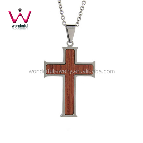 Engravable Stainless Steel Wooden Cross Pendant