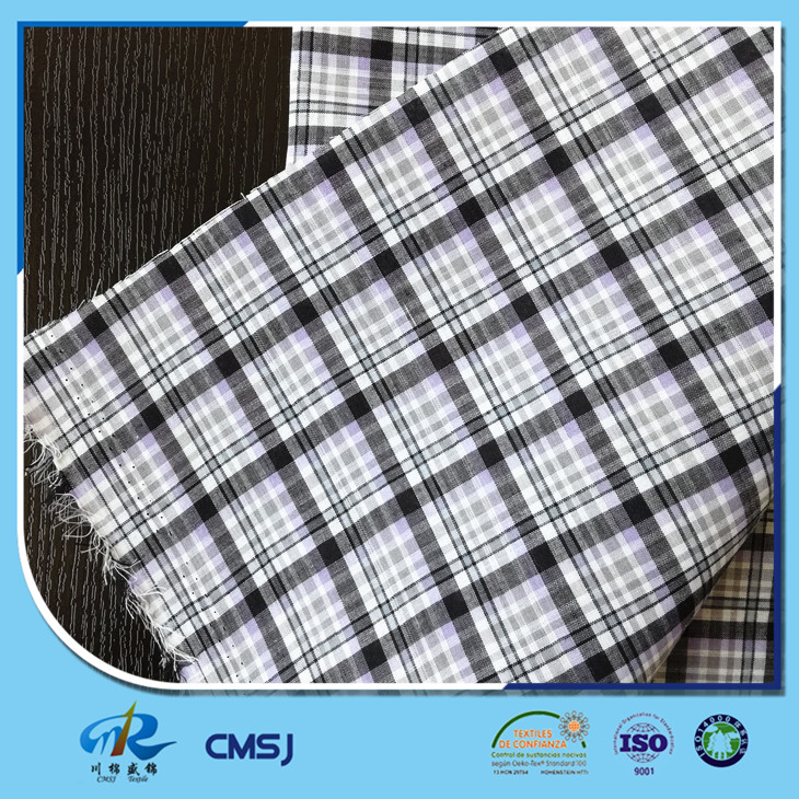 China factory cheap price 80 poly 20 cotton yarn dyed plaid fabric