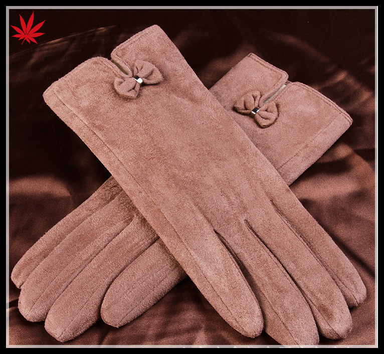 Simple and generous lady sheep suede leather gloves with bowknot