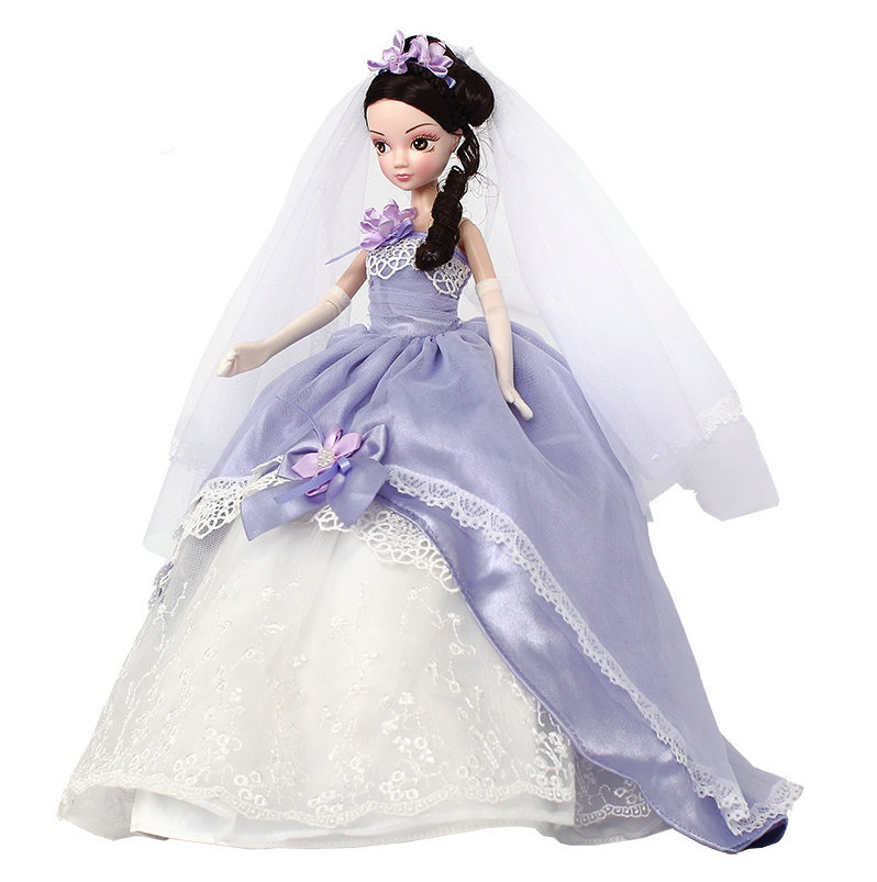 29cm Romantic Purple Bridal Doll Movable Joints Girl Doll KURHN China Fashion Doll Birthday Gift