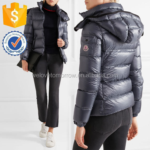 Latest Women Cool Navy Metallic Shell Down Jacket Manufacture Wholesale Fashion Women Apparel(TS0035C)