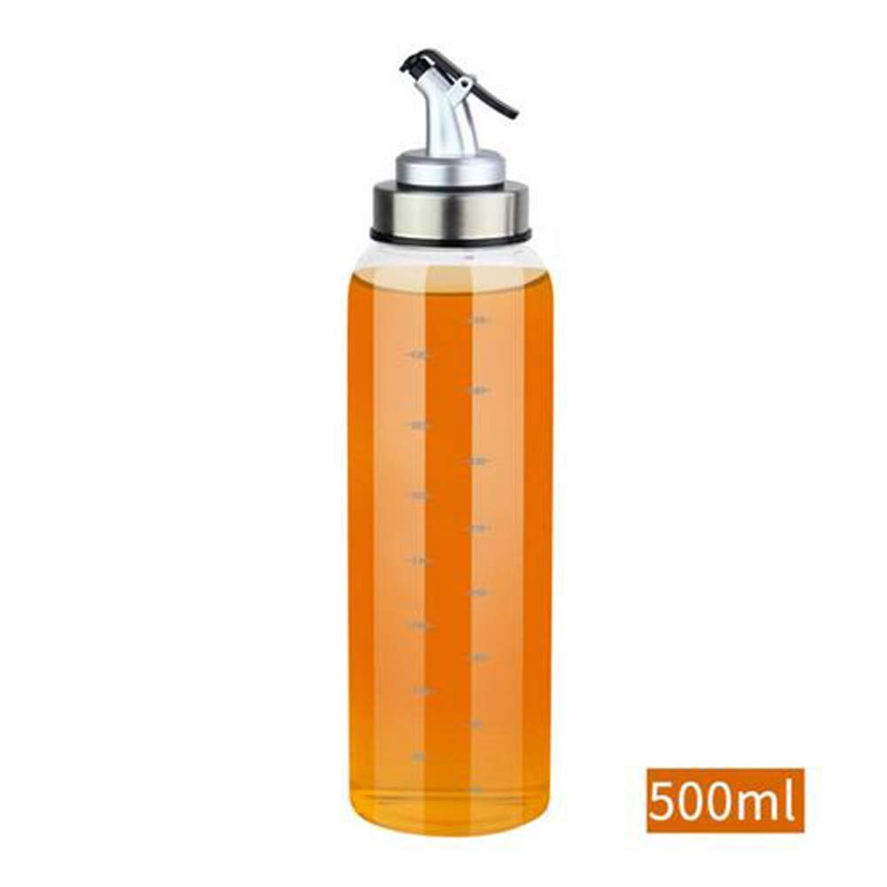 Olive Oil Dispenser Bottle -500ml Glass Oil Dispenser Stainless Steel Pour Spout No Drip, Oil Container For Vegetable Olive Oil,Lead-Free Glass Oil Vinegar Measuring Dispenser Set for Kitchen (2 Pack)